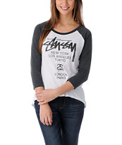 Stussy Girls World Tour White & Grey Baseball Tee Shirt