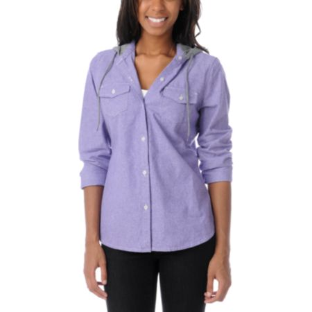 Empyre Girls Conifer Purple Chambray Hooded Flannel Shirt