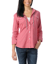 Empyre Girls Conifer Red Chambray Hooded Flannel Shirt