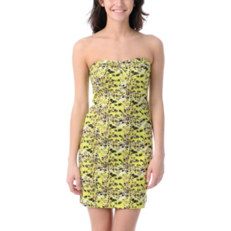 Volcom Hey Poppy Lime & Floral Tube Dress
