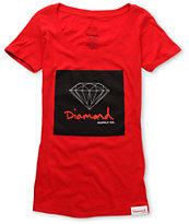 Diamond Supply Girls Red OG Sign Scoop Neck Tee Shirt
