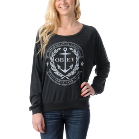 Obey Cruiseliner Charcoal Grey Raglan Top