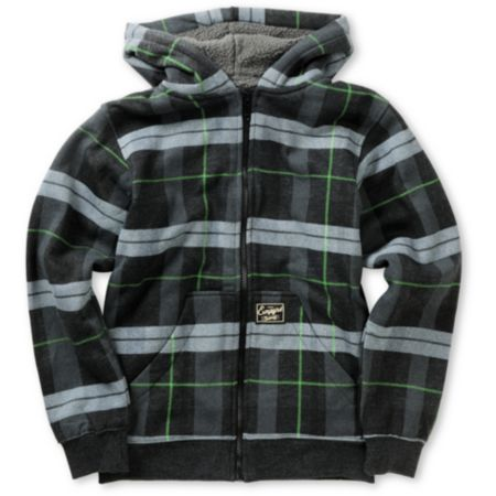 Empyre Boys Hecka Grey & Green Plaid Sherpa Fleece Hoodie