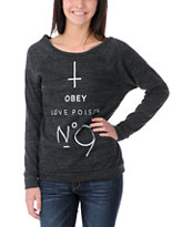 Obey No. 9 Vandal Charcoal Crew Neck Sweatshirt