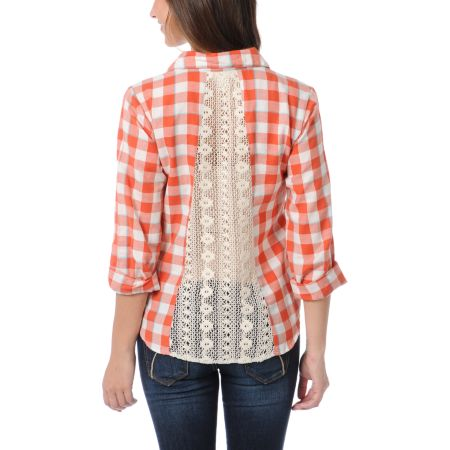 Love, Fire Orange Plaid Lace Back Button Up Shirt