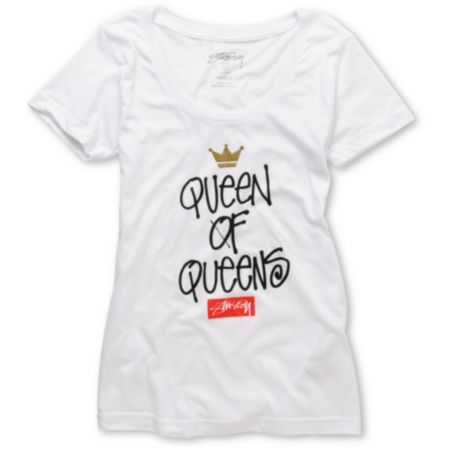 Stussy Girls Queen of Queens White Tee Shirt