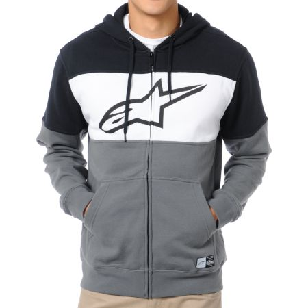 Alpinestars Champ Black, Grey & White Zip Up Hoodie