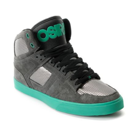 Osiris NYC 83 Vulc Grey & Green Suede High Top Shoe