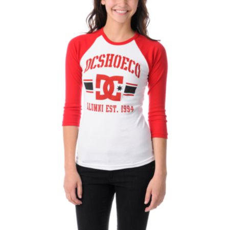 DC Dyrdek Girls Alumni Red & White Baseball Tee Shirt