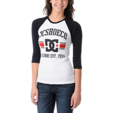 DC Dyrdek Girls Alumni Black & White Baseball Tee Shirt