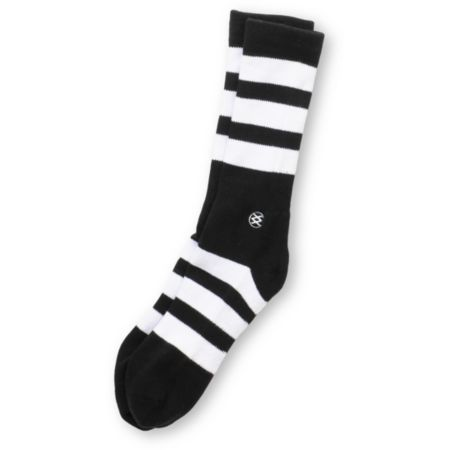 Stance Shift White & Black Striped Crew Socks