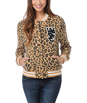 WeSC Girls Lakai Tan Leopard Print Fleece Varsity Jacket