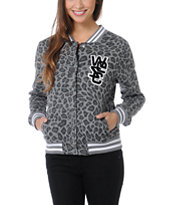 WeSC Girls Lakai Grey Leopard Print Fleece Varsity Jacket
