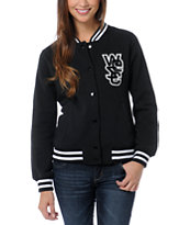WeSC Girls Lakai Black Fleece Varsity Jacket