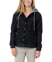 Stussy Girls Buffalo Black Hooded Jean Jacket