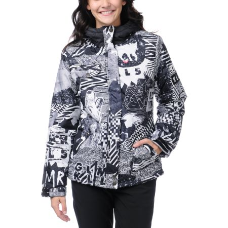 Glamour Kills Creeper Black & White Girls Snow Jacket
