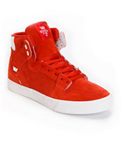 Supra Vaider Red Perforated Suede Skate Shoe