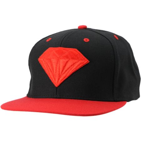 Diamond Supply Brilliant Black & Red Snapback Hat