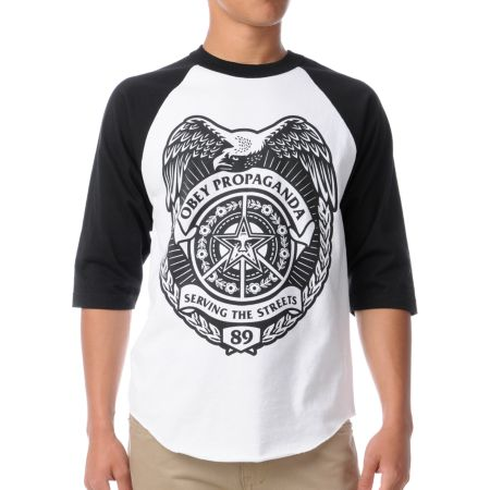 Obey Serving The Streets Black & White Baseball Tee Shirt