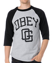 Obey Gigantes Black & Grey Baseball Tee Shirt