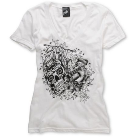 SRH Girls Inked Up White V-Neck Tee Shirt