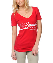 Diamond Supply Girls Diamondaire Red V-Neck Tee Shirt