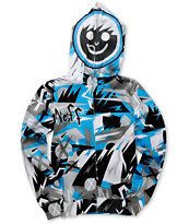 Neff Boys Jumbled Blue & Grey Full Zip Face Mask Hoodie