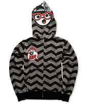 Neff Boys Yo Zig Black & Grey Full Zip Face Mask Hoodie