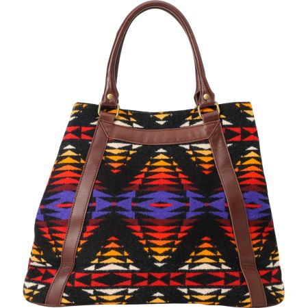 Pendleton Native Print Leather Tote Bag