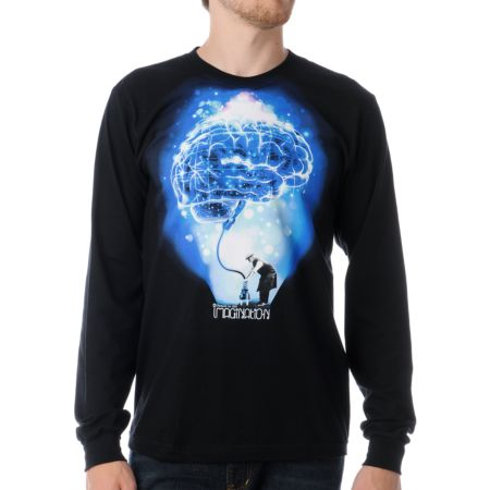 Imaginary Foundation Brain Power Black Long Sleeve Tee Shirt