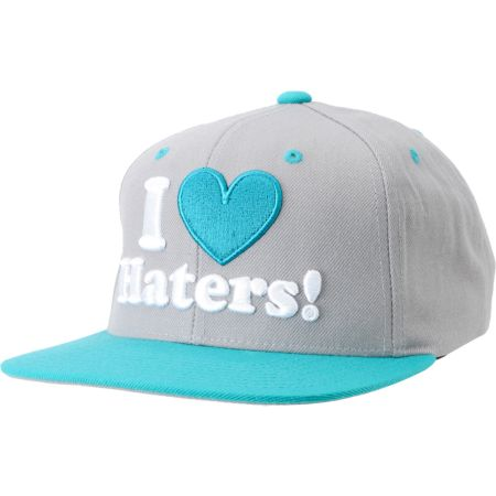 DGK I Love Haters Grey & Teal Snapback Hat