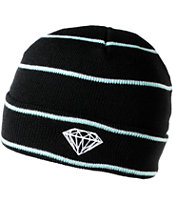 Diamond Supply Black, White & Teal Striped Fold Beanie
