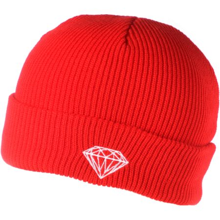 Diamond Supply Brilliant Red Fold Beanie