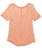 A Fine Mess Window Neon Orange Stripe V-Neck Tee Shirt
