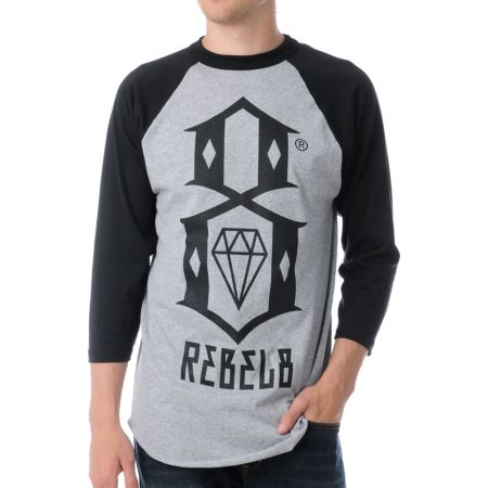 REBEL8 Logo Grey & Black Baseball Tee Shirt
