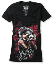 Sullen Girls Mourning Glory Black V-Neck Tee Shirt