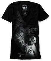Sullen Girls Heaven Black V-Neck Tee Shirt