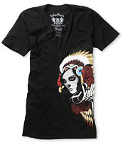 Sullen Girls Head Hunter Black V-Neck Tee Shirt