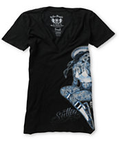 Sullen Girls Ball Point Black V-Neck Tee Shirt