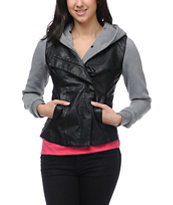 Lira Rider Faux Leather Girls Hooded Vest Jacket