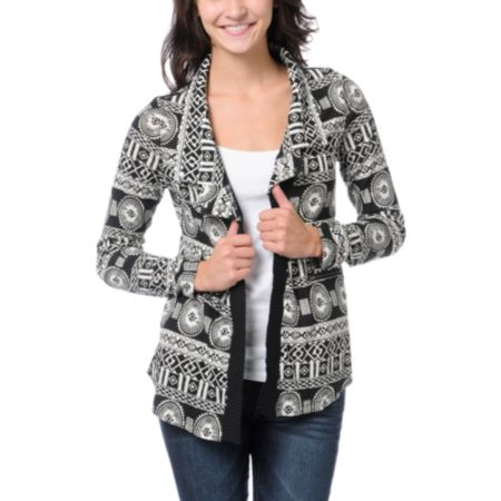 Lira Girls Black & White Flash Cardigan Sweater