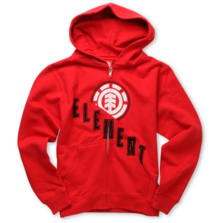 Element Boys Escalate Red Zip Up Hoodie