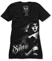 Sullen Girls Sin City Black V-Neck Tee Shirt