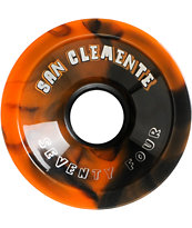 San Clemente Summer Swirl 74mm Black & Orange Longboard Wheels