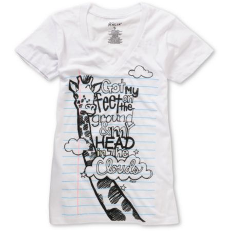 Ralik Girls Notebook Head In The Clouds White V-neck Tee Shirt