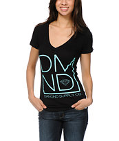 Diamond Supply Girls DMND Black V-Neck Tee Shirt