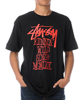 Stussy Runnin Wild Black Tee Shirt