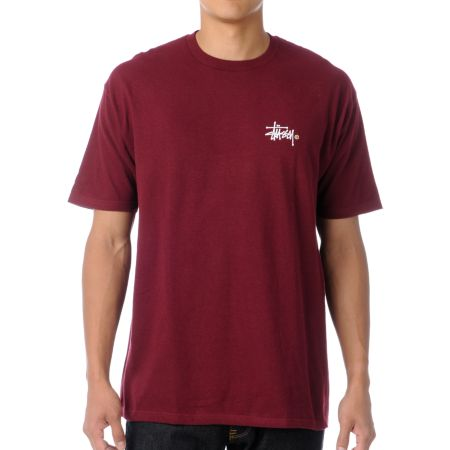 Stussy Basic Logo Dark Red Tee Shirt