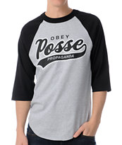 Obey Posse Script 2 Grey & Black Baseball Tee Shirt