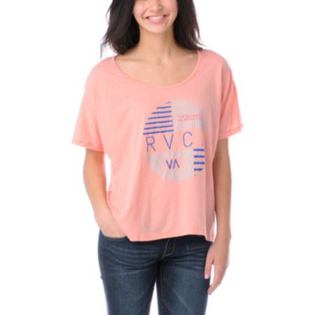 RVCA Girls Blinds Coral Monster Crop Tee Shirt